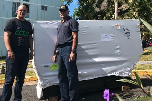 One of the four generators NRECA donated to co-ops in Puerto Rico. In the wake of last year's hurricanes, a third of the island is still without power.