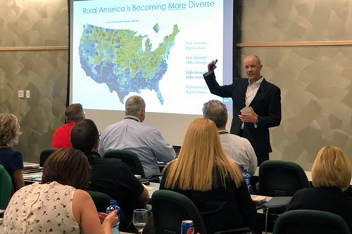 Doug O'Brien speaks on changing rural politics and the cooperative movement during the Executive Track at NISC's 2018 Membership Information Conference. [photo: NISC]