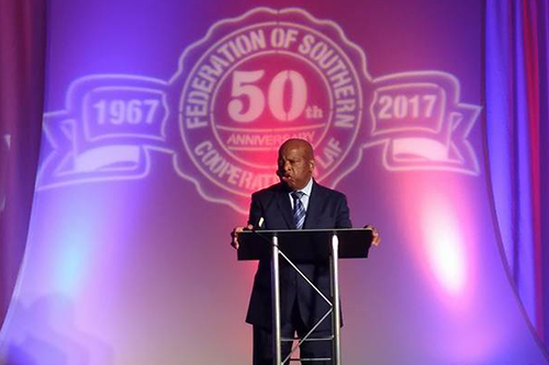 Rep. John Lewis, a prominent civil rights leader representing Georgia's 5th District, speaks at the Estelle Witherspoon Awards Dinner on August 17. [photo: Federation of Southern Cooperatives]