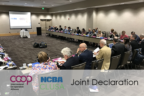 The boards of the International Cooperative Alliance and NCBA CLUSA met in a joint session yesterday.